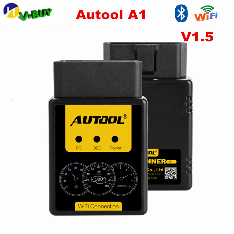 AUTOOL A1 OBD2 Scanner V1.5 Bluetooth/WIFI OBD2 OBD II Auto Car Diagnostic Scanner Works on Android Better than ELM327