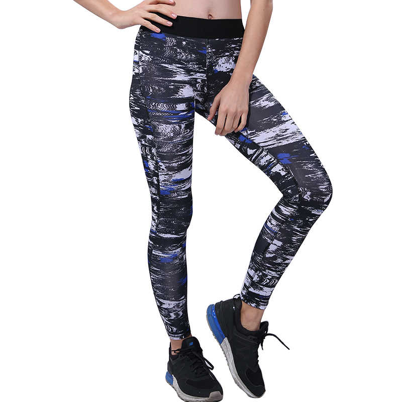 BESGO Running Pant Women Geometric Pattern Mid Waist With Small Pocket Sports Legging Capris Quick Dry Athletic Workout Trousers