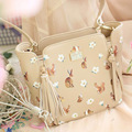 Vintage Embroidery Bag Rabbit Tassels Squirrel Beige Metal Women Bags Prints Floral Flower Mori Girl Shoulder Messenger Bags