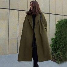 2016 Winter Coat Women Wide Lapel Belt Pocket Wool Blend Coat Oversize Long Army Green Trench Coat Outwear Wool Coat Women