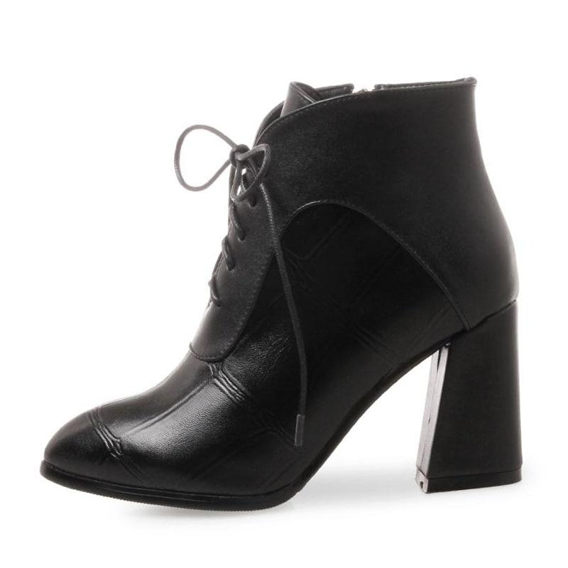 Femmes Chaussures D'hiver vin Pointu Taille 32 Bottes Aicciaizzi Fourrure Épais Cheville De Haute marron Pour Zipper Sexy 42 Noir Rouge Bout Plaid Chaud Talons wPkuTlOXZi