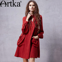 Artka Women S Autumn Retro Vintage Stand Collar Full Lantern Sleeves Loose A Line Jacquard Solid