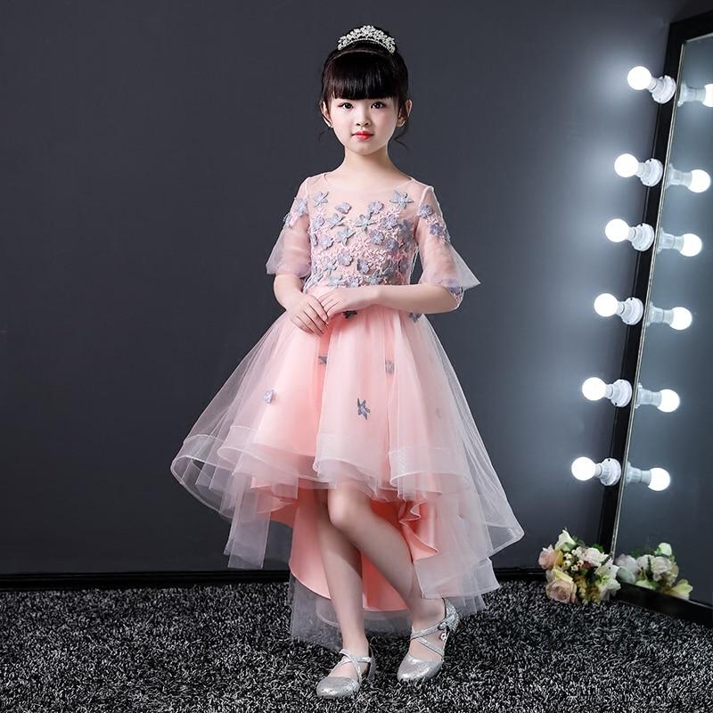 Broderie rose fleur fille robes pour robe de bal de mariage sainte Communion robe pour les petites filles 2-12Y princesse robe de bal B168