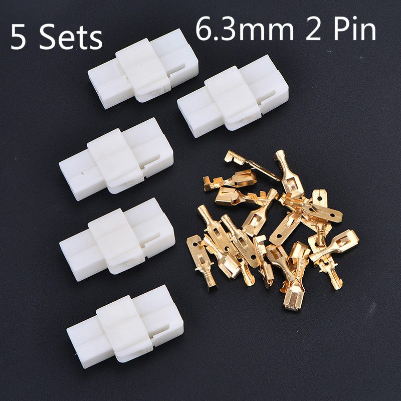 5 Sets 6.3mm 2 Pin Automotive Electrical Wire Connector Male Female Cable Terminal Plug Kits Motorcycle Ebike Car Terminal Plug
