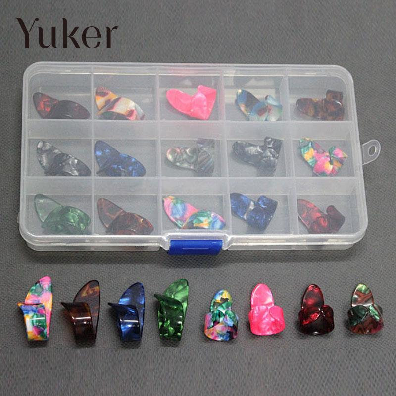 Yuker 15Pcs/set Celluloid Steel Finger Thumb Guitar Picks Nail Picking Guitar Plectrums Guitar Accessories with case Colors