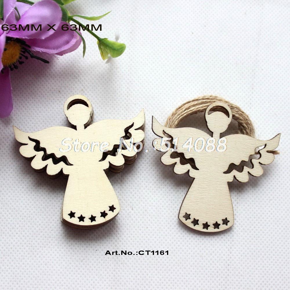 w64 10x De Madera Angel Craft Cupido Colgante En Blanco Forma Adorno Decoración