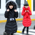 Muchachas de los niños de Down Parka Abrigo Nuevo 2016 Marca de Moda de Piel con capucha Gruesa Capa Caliente Del Invierno Outwear Niños Chaqueta Larga Ropa caliente