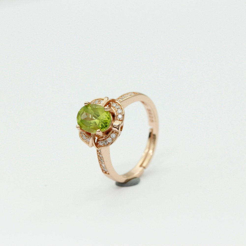 LASAMERO 8 * 6mm Peridot obljetnica prsten Gemstone Solid 925 - Fine nakit - Foto 5