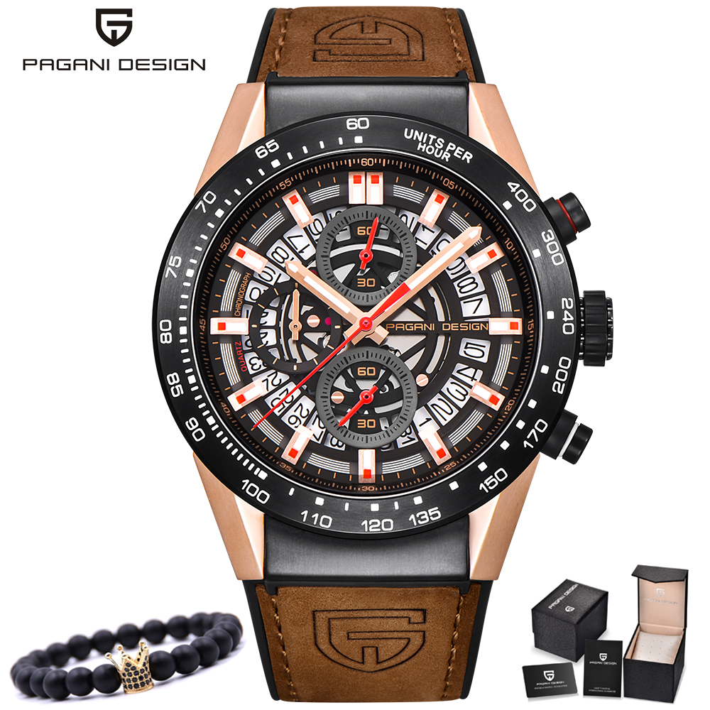 все цены на PAGANI Men Watches Top Brand Luxury Quartz Gold Watch Men Casual Leather Military Waterproof Sport Wrist Watch Relogio Masculino