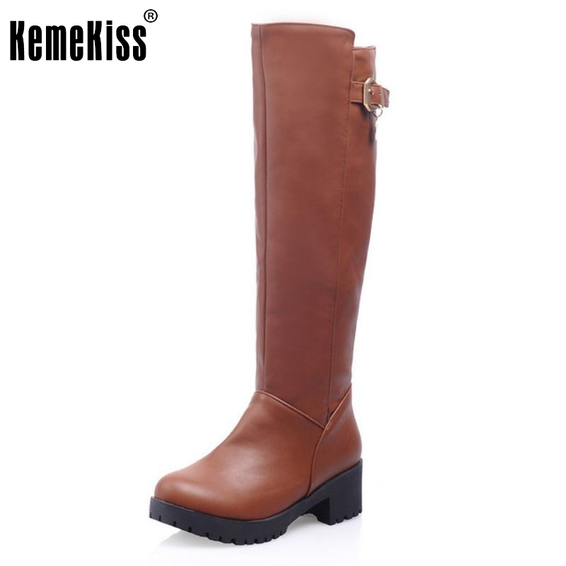 Women High Heel Over Knee Boots Fashion Snow Long Boot Warm Winter Brand Botas Riding Footwear Heels Shoes Size 34-40