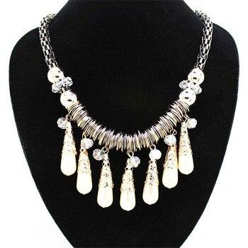 e8c14f46efe6 2019 de moda exagerado infinito simulado-collar de perlas Collier Femme  Ethnique blanco perla declaración collar regalo