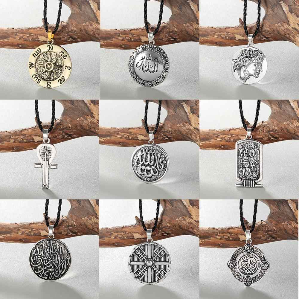 Chereda Multiple Men Necklace Viking Symbol Women Helmet Horror In Rune Braided Borre Knot Norse Unique Pendant Male Gift