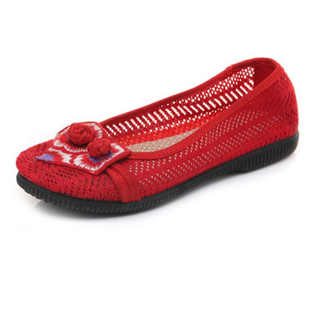 Été Beige Mujer Femmes Chinois Sexy Casual Simple Creux Appartements Zapatos noir rouge Floral Dames Chaussures Pour De Broderie Rétro aqarB