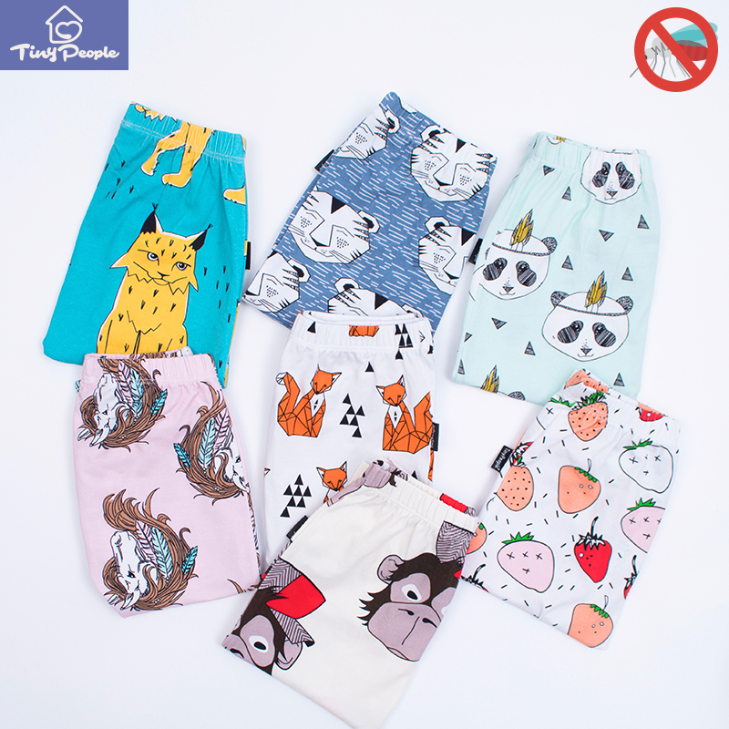 TinyPeople 2019 Infant Ins Cartoon Print Cotton Spring Summer Baby Pants Baby Girl Leggings Toddler Boys Newborn Cute Trousers