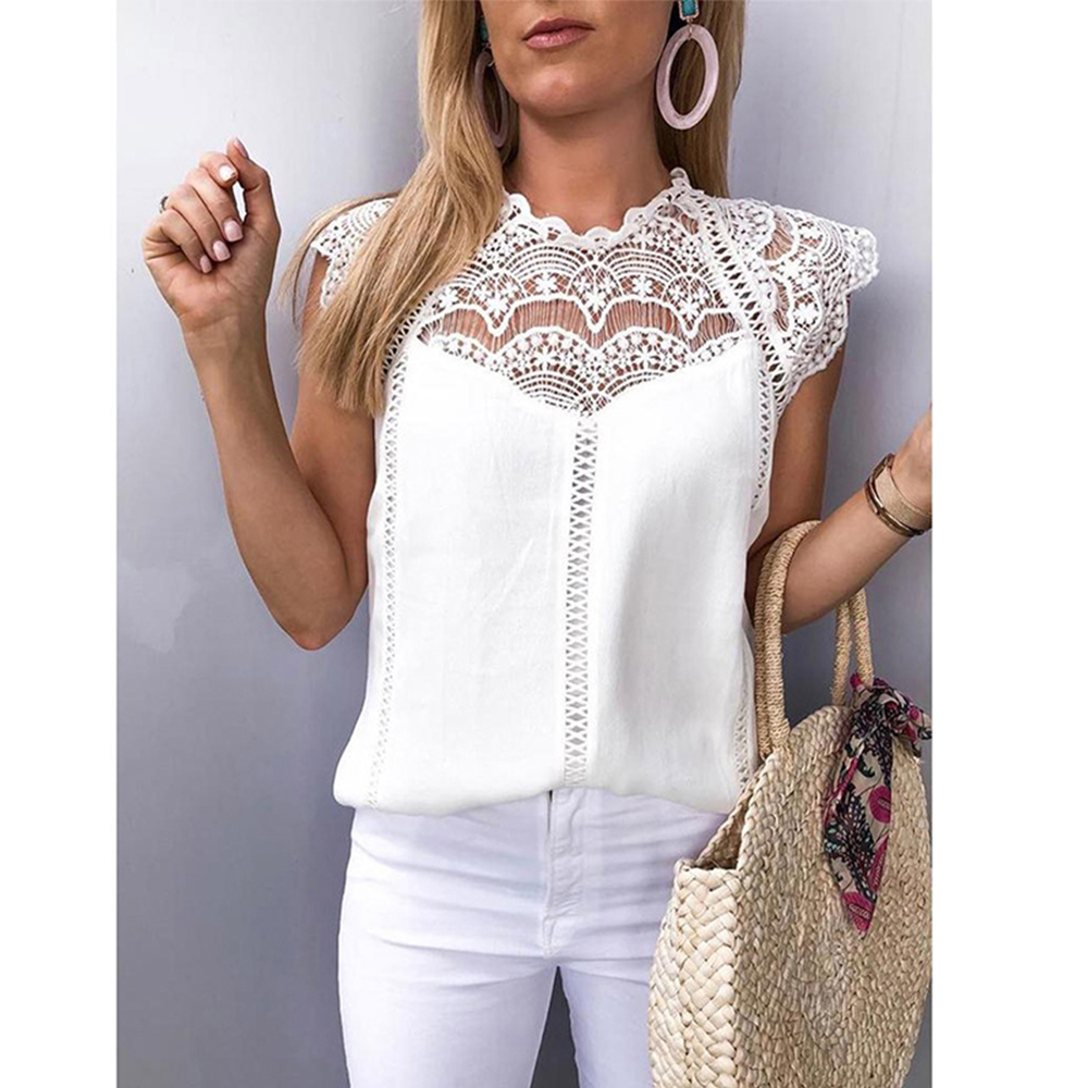 Sexy Lace Women's Blouse Sleeveless Hollow Out Womens Tops And Blouses Ladies Summer White Shirt Solid Patchwork Women Tunic