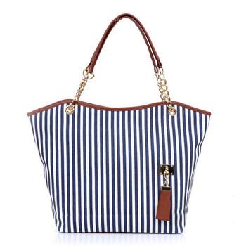 Striped Casual Tote Women Canvas Handbag Casual Single Shoulder Shopping Bags Beach Zipper Large Bag Sac A Main Bolsa