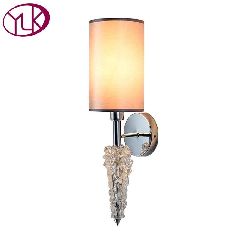 Youlaike роскошные современные кристалл настенный светильник Chrome светодиодный бра краткое прикроватные Cristal огни для Спальня