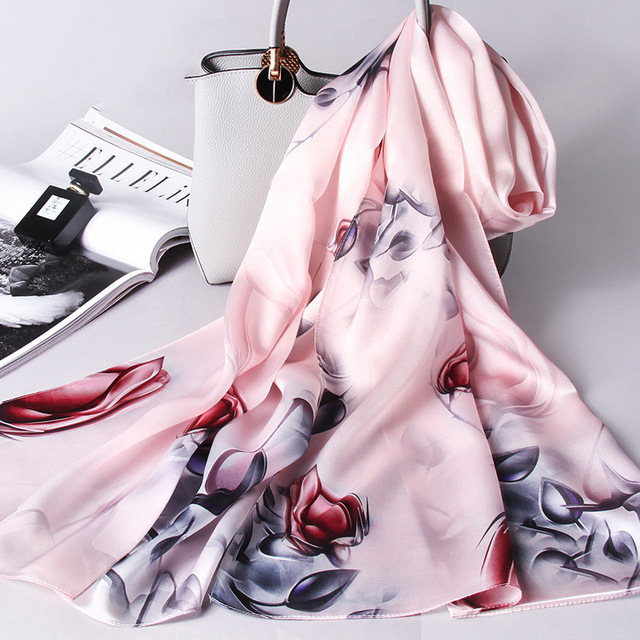 Ladies 100% Pure Silk Scarf luxury brand 2018 Shawls and Wraps for Women's Print Wrap Muffler Natural Real Mulberry Silk Scarves