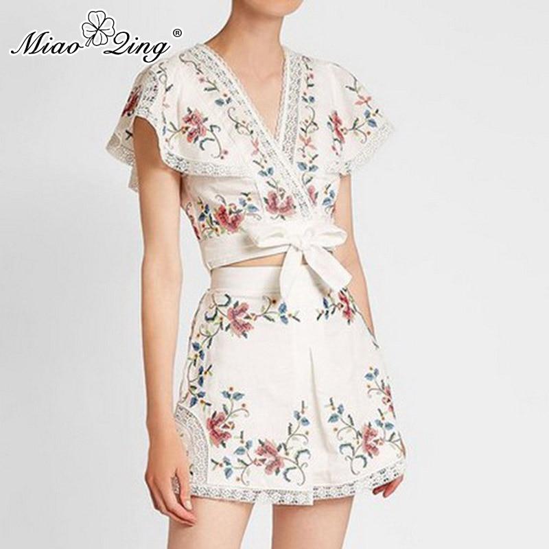 MIAOQING Print cut-out two-piece women's v-neck short-sleeved top high waist wide leg shorts women's summer suit