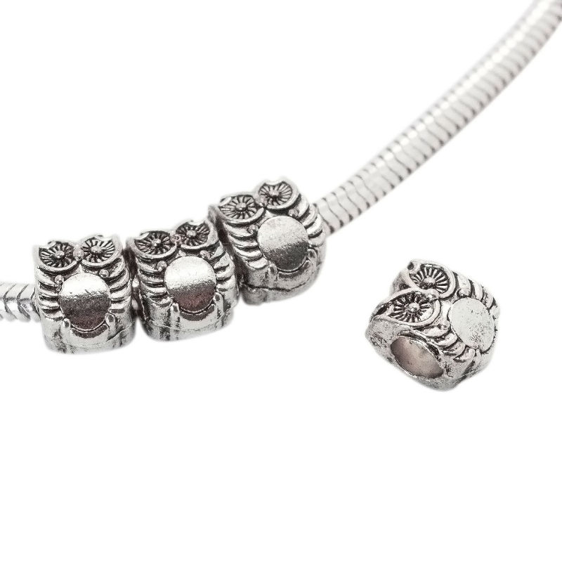 DIY Accessories Cute Antique Silver Owl Beads Charms for Jewelry Making Metal Animal Spacer Beads Fit Braceltes Necklaces 12 Pcs