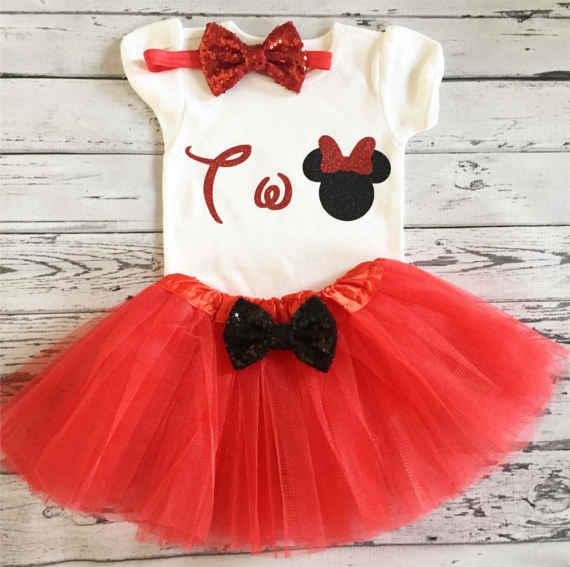 Подгонянный красный и черный minniee 2-й первый день рождения младенческий комбинезон цельный пачка комбинезон для ребёнка набор детский душ вечерние подарки