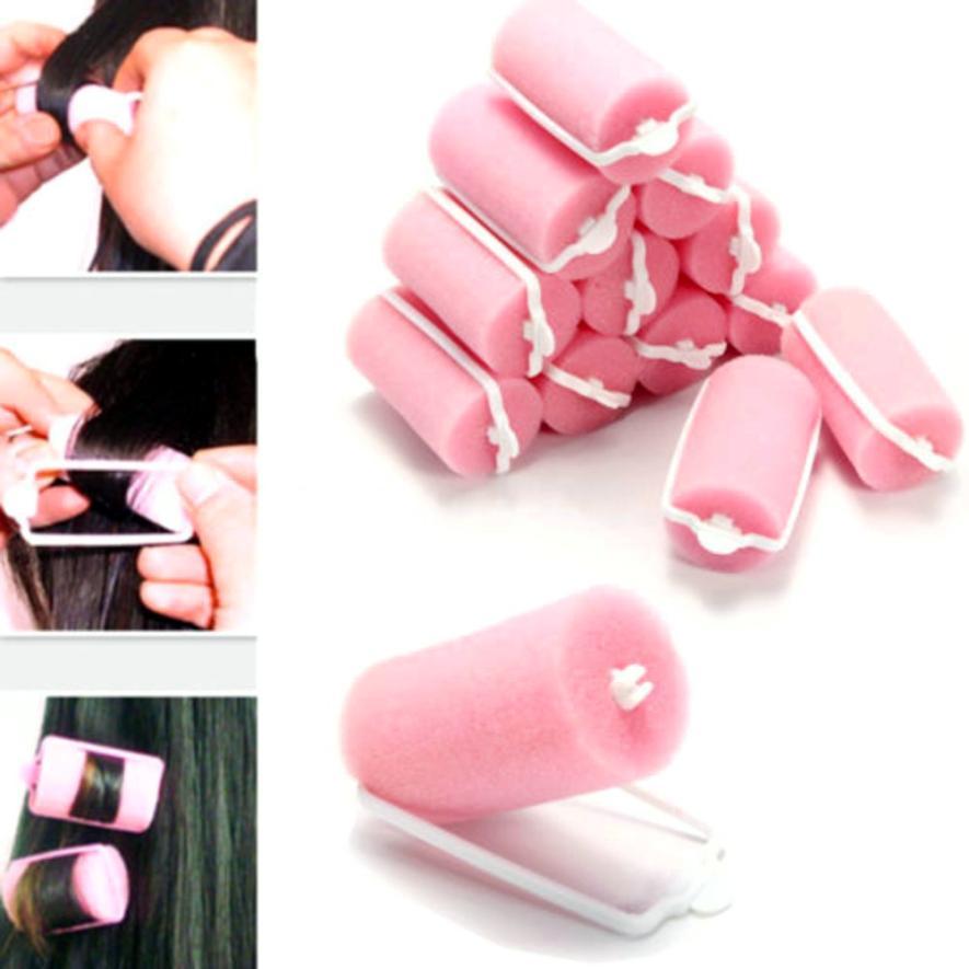 Beauty Hair curler 12 Pcs Magic Sponge Foam Cushion Hair Styling Rollers Curlers Twist Tools Witty 63*32MM apr12