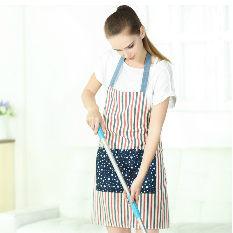 1Pcs Stripe Cotton Apron Waterproof Lovely Printed Kitchen Cooking Home Outdoor Barbecue Accessorie Kitchen Home 78cmx60cm