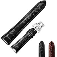Reef Tiger/RT High Quality Watch Band for Men 22mm Genuine Calfskin Leather Strap with Deployment Buckle Durable