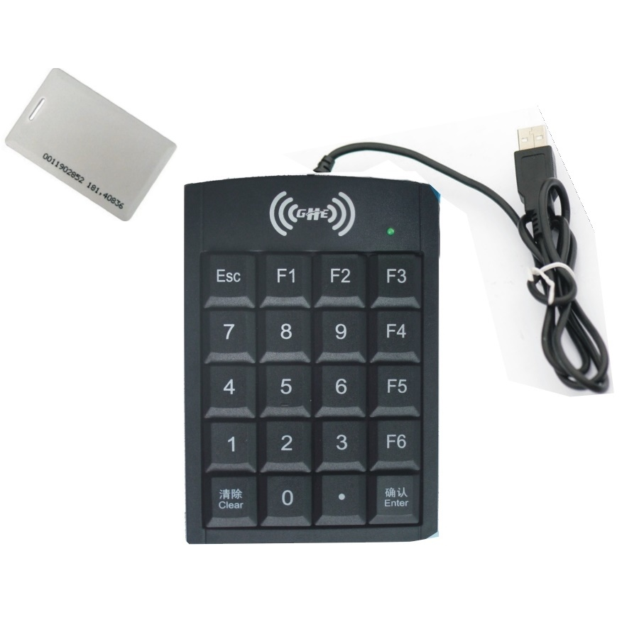 USB 125KHZ RFID EM4100 Tk4100 reader with number key support android + 10piece cards 10piece 100