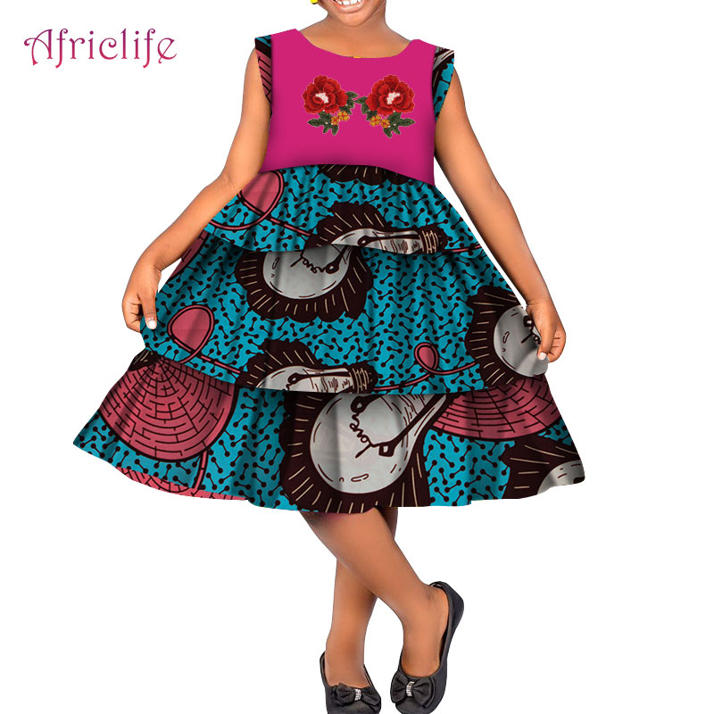 Custom 4 10 Years Old Girl Skirt African Print 100% Cotton Appliques Decorations Beautiful Dress for Birthday'Gifts WYT364