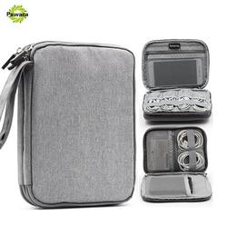 Waterproof Double Layer Cable Storage Bag Electronic Organizer Gadget Travel Bag USB Earphone Case Portable Digital Organizador