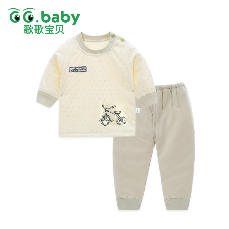 Wholesale Winter Warm 2pcs/set Long Sleeve Baby Girl Set Clothes Cotton Newborn Children Boy Clothing Snowsuit Pajamas Pants Set 2pcs children outfit clothes kids baby girl off shoulder cotton ruffled sleeve tops striped t shirt blue denim jeans sunsuit set