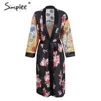 Simplee Floral Print Polka Dot Kimono Women Blouse Vintage Tie Up Kimono Cardigan Long Sleeve Summer