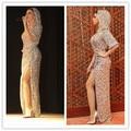 Mf21 impresionante Top Crop alta dividir gece elbisesi mejor Handcraft totalmente rebordear Sparkling Dubai vestidos de noche vestidos noche abiye