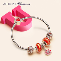 ATHENAIE Red Gold Foil Murano Glass Beads & Cherry Enamel Pendant Charm 925 Silver Bracelets & Bangles For Women Gifts Jewelry