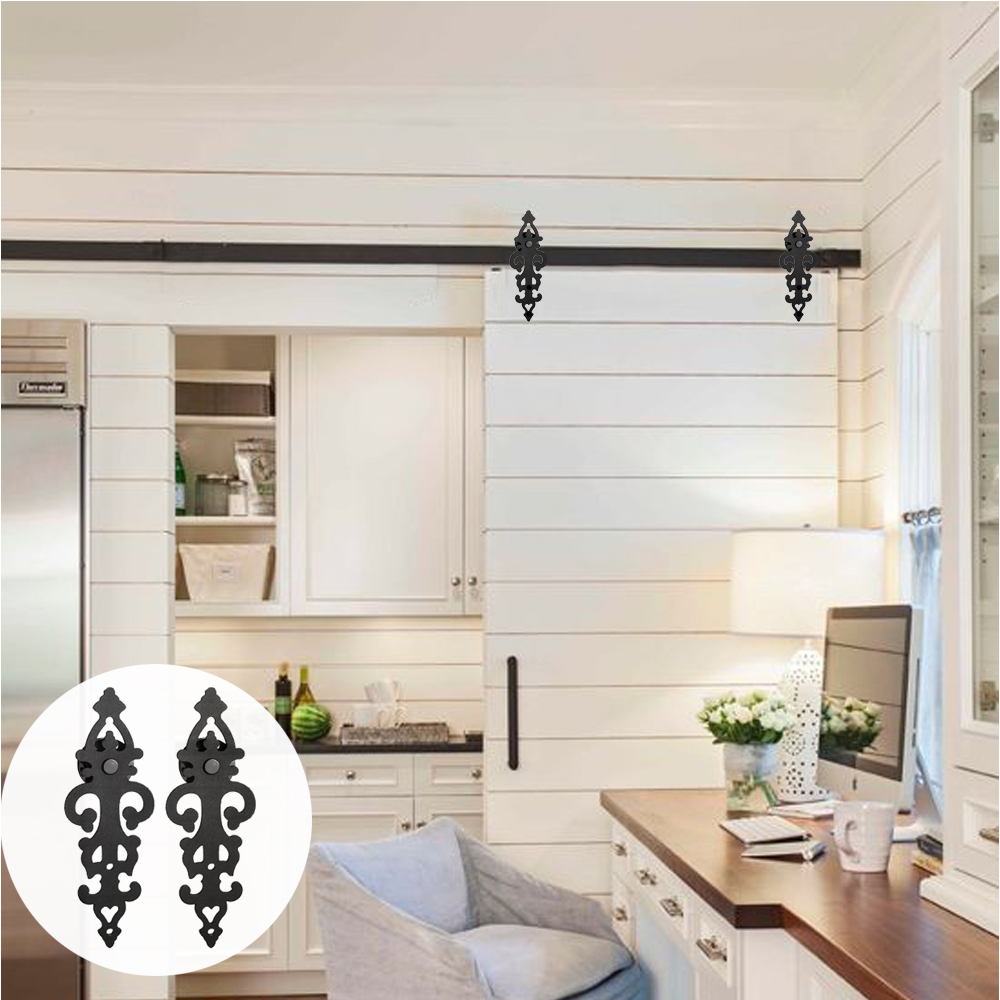 LWZH DIY Carton Steel Sliding Barn Door Hardware Kit Black Symmetry Blossom Shaped Track Roller For Interior Sliding Single Door