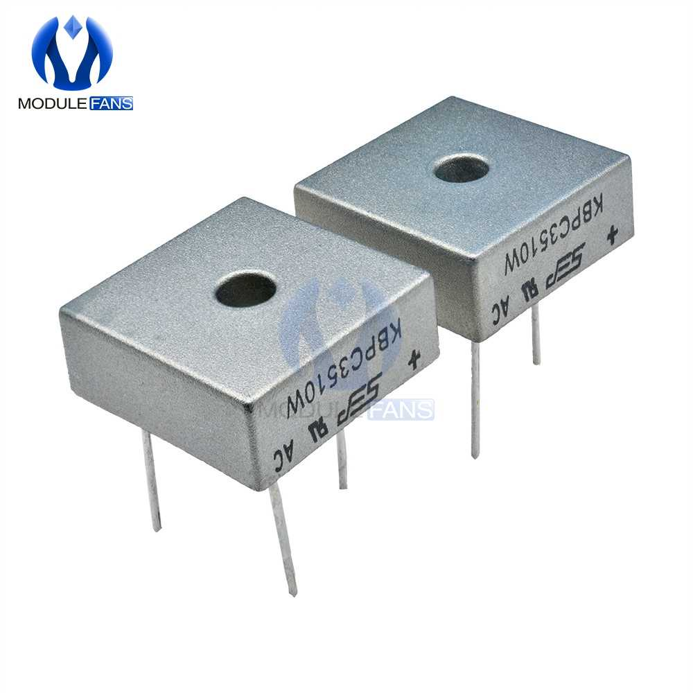 5PCS Diode Bridge Rectifier KBPC3510W KBPC3510 35A 1000V 4Pin Bridge Rectifier High Frequency Medium Power DIY Electronic