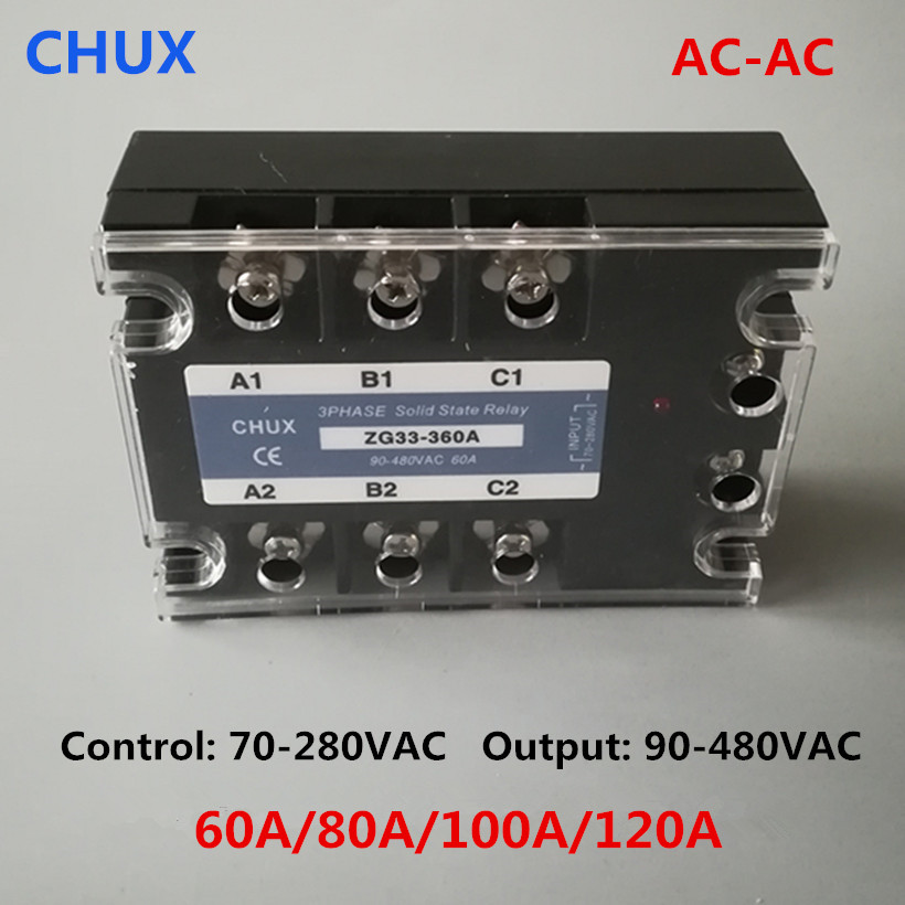 CHUX Three Phases Solid State Relay 60a 80a 100a 120a 90-480VAC ZG33 70-280v AC to AC 3 SSR Relay цена 2017