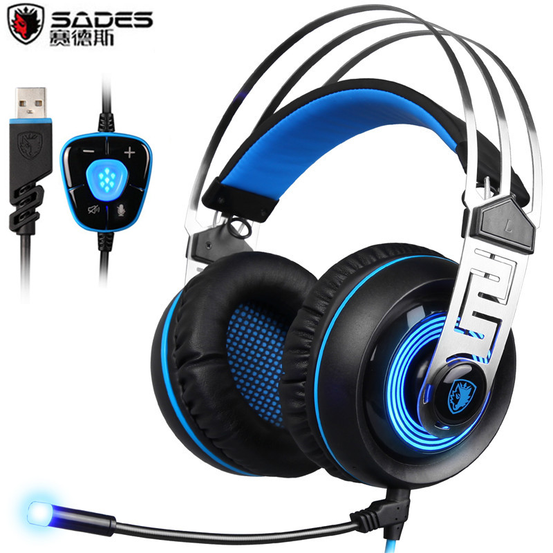 Sades A7 PC Gamer Gaming Headset USB 7.1 Surround Professional Stereo Gaming Headphones with Mic Led Light For Computer Laptop sades a7 usb gaming headset 7 1 stereo surround sound earphones with microphone mac stereo headphone led for pc laptop gamer e02