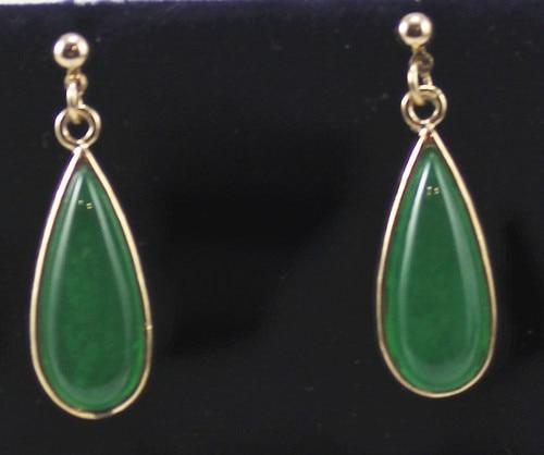 Free Shipping ER00002 Elegant Green Jades Drop Earring