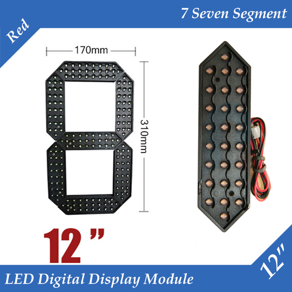 10pcs lot 12 Red Color Outdoor 7 Seven Segment LED Digital Number Module for Gas Price