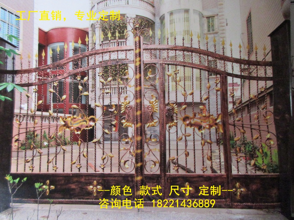 Custom Made Wrought Iron Gates Designs Whole Sale Wrought Iron Gates Metal Gates Steel Gates Hc-g43