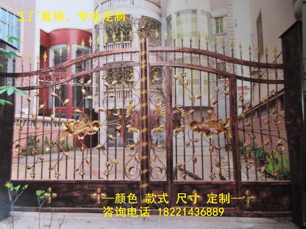 Custom Made Wrought Iron Gates Designs Whole Sale Wrought Iron Gates Metal Gates Steel Gates Hc-g43