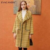 Желтый и зеленый цвета плед кисточкой Шерстяное пальто Для женщин зимние Винтаж длинные Chic корейский дизайнер шерстяное пальто с отложным