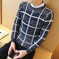 2016 New Brand Winter Thicken Warm Plaid Sweater Men O-Neck Pullover men Casual Mens Slim Fit Cotton Sweater Male hot sale