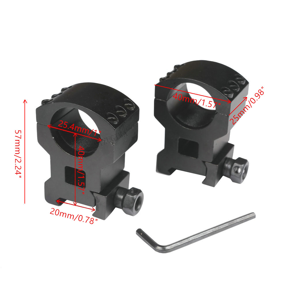 Heavy Duty Rifle Scope Mount 25.4mm Ring 6 Bolts Extra High Weaver 20mm Picatinny Rail Hunting Accessories 1 Pair (2pcs)