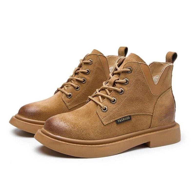 Flache Neue Halten Schuhe Warm orange Schwarzes Britischen Leder Retro Kurze Casual Winter gold Mode Wildleder Gut Frauen Stil Martin Stiefel Rohr Verkaufen rrAqaUw
