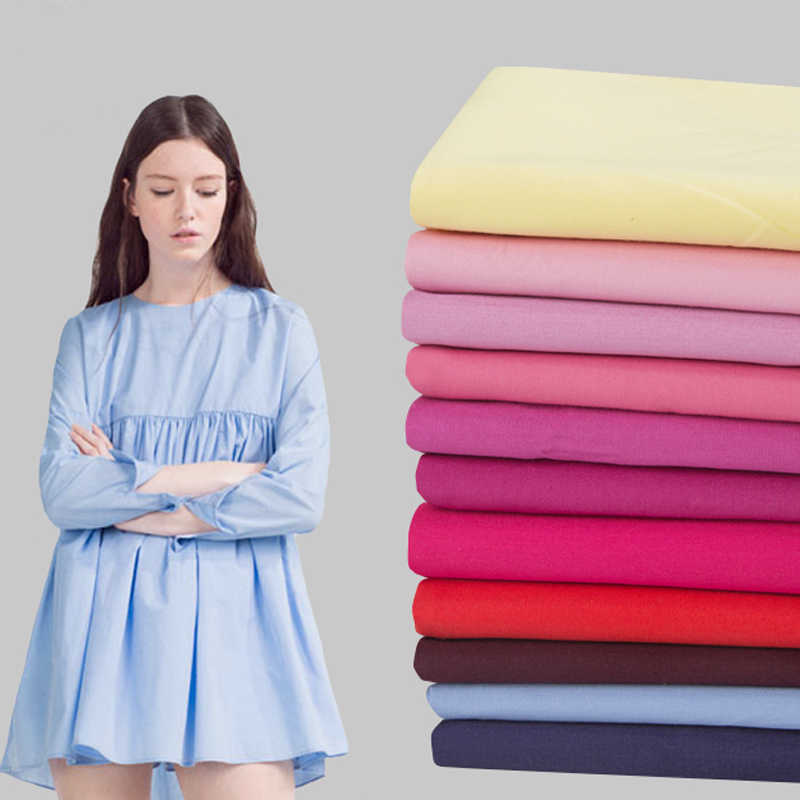 Plain Color Pure Cotton Poplin Fabric 50s Thin Summer Shirt Material Gown