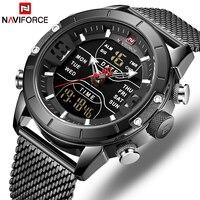 Новый для мужчин часы naviforce Модные Спортивные Повседневные часы нержавеющая сталь ремень водостойкий двойной дисплей наручные