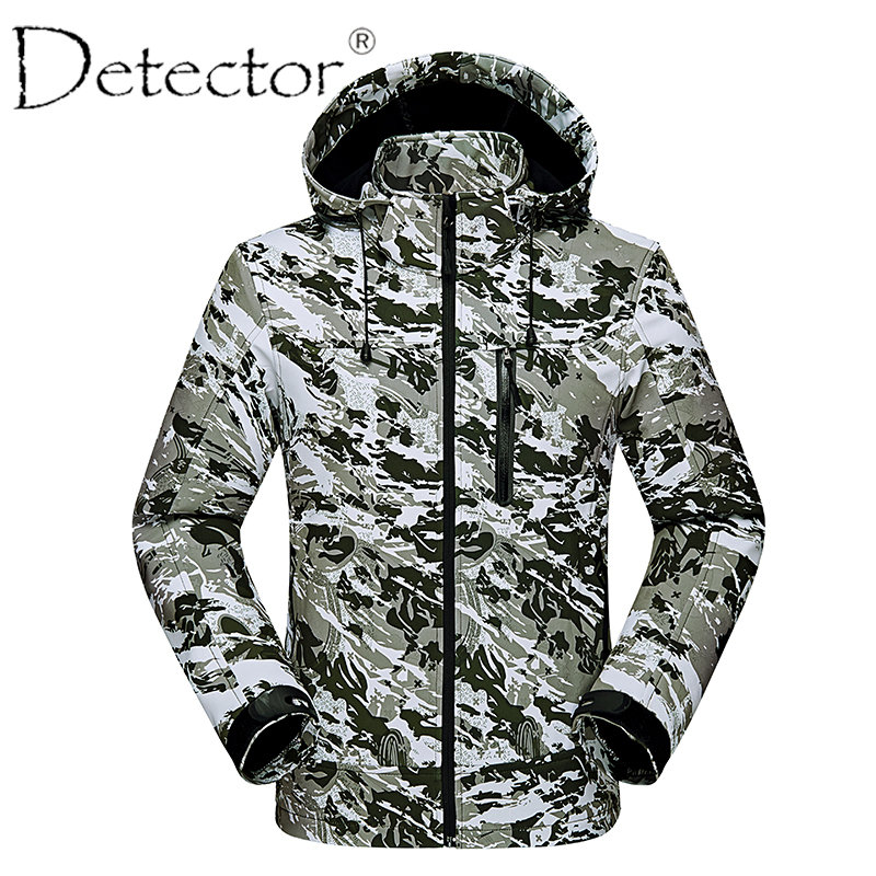 Detector Men Windproof Waterproof Breathable Thermal Softshell Jacket Outdoor Hunting Fishing Camping Hiking Jacket outdoor breathable softshell jacket men s black tactical hunting waterproof windproof jacket soft shell with fleece lining